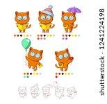 character cat in glasses in... | Shutterstock .eps vector #1241224198