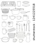 kitchen items line drawing... | Shutterstock .eps vector #1241225518