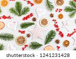 christmas composition. gifts ... | Shutterstock . vector #1241231428