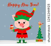 happy new year and merry... | Shutterstock .eps vector #1241244925