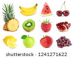 collection of fruits on white... | Shutterstock . vector #1241271622