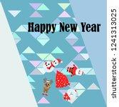 christmas card  santa snowman...   Shutterstock .eps vector #1241313025
