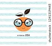 happy orange fruit character in ... | Shutterstock .eps vector #1241319445