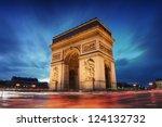 arc de triomphe paris city at... | Shutterstock . vector #124132732