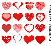 set of red hearts | Shutterstock .eps vector #124135276