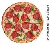 sliced pepperoni pizza ... | Shutterstock . vector #124135696