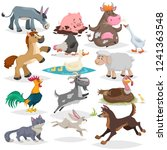 Stock vector cute farm animals set collection of cartoon vector drawings in flat style donkey goat horse 1241363548