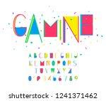 gamine font and alphabet vector ... | Shutterstock .eps vector #1241371462