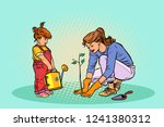 mother and daughter working in... | Shutterstock .eps vector #1241380312