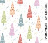 decorative christmas trees...   Shutterstock .eps vector #1241384308