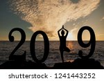 new year 2019 yoga concept... | Shutterstock . vector #1241443252