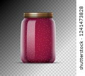 glass jars with jam vector... | Shutterstock .eps vector #1241473828