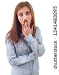 surprised casual girl isolated... | Shutterstock . vector #1241483095