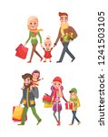 couple and children with bags... | Shutterstock .eps vector #1241503105