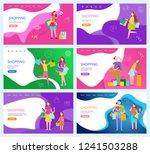 shopping woman walking dog ... | Shutterstock .eps vector #1241503288