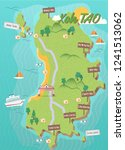 koh tao island map in thailand... | Shutterstock .eps vector #1241513062