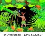 jungle vector scene background  ... | Shutterstock .eps vector #1241522362