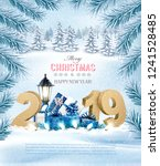 merry christmas background with ... | Shutterstock .eps vector #1241528485