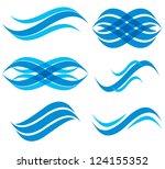 wave symbols set  vector. | Shutterstock .eps vector #124155352