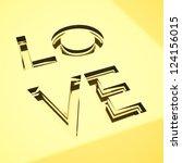 engraved love words on metal... | Shutterstock . vector #124156015