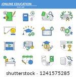vector set of online education...
