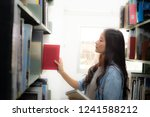 female students are searching... | Shutterstock . vector #1241588212