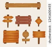 wooden signs collection  | Shutterstock .eps vector #1241600455