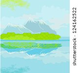 vector landscape with mountains | Shutterstock .eps vector #124162522