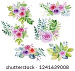 watercolor bouquets of roses on ... | Shutterstock . vector #1241639008
