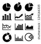 vector charts and graphs... | Shutterstock .eps vector #124166335