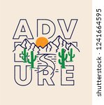 adventure  mountain and cactus... | Shutterstock .eps vector #1241664595