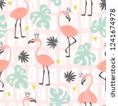 seamless pattern with pink...   Shutterstock .eps vector #1241674978