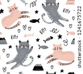 Stock vector seamless pattern with funny cats cat food and fish on a white background vector illustration 1241675722