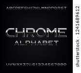 chrome alphabet font. metallic... | Shutterstock .eps vector #1241689612