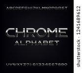 chrome alphabet font. metallic... | Shutterstock .eps vector #1241689612