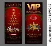 christmas poster with golden...   Shutterstock .eps vector #1241699242