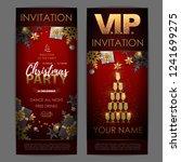 christmas poster with golden...   Shutterstock .eps vector #1241699275