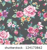 seamless vintage tropical... | Shutterstock .eps vector #124173862