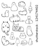cat sketches | Shutterstock .eps vector #124174402