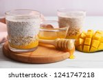 chia pudding with mango ...   Shutterstock . vector #1241747218