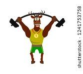 cute  funny deer in sport... | Shutterstock .eps vector #1241753758