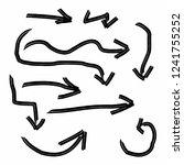 black arrow set hand drawing...   Shutterstock .eps vector #1241755252