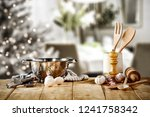 cook hat on table and christmas ...   Shutterstock . vector #1241758342