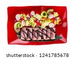 top view plate of tuna fried... | Shutterstock . vector #1241785678