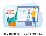 booking airplane ticket online... | Shutterstock .eps vector #1241788462