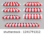 stripe awning. cafe tent  shop... | Shutterstock .eps vector #1241791312