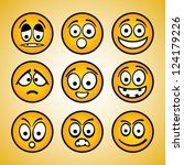 set of cartoon emoticons. | Shutterstock .eps vector #124179226
