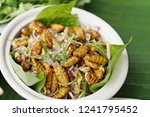 silkworm insect in spicy salad. ... | Shutterstock . vector #1241795452