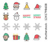 christmas vector color line... | Shutterstock .eps vector #1241798608