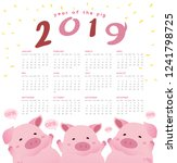 happy pig new year 2019... | Shutterstock .eps vector #1241798725